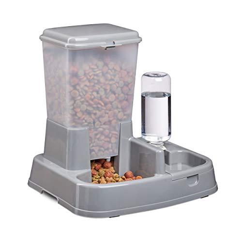 Relaxdays Wasser- und Futterspender, Futterautomat Katzen & Hunde, Flasche, Kunststoff, HBT 34x34,5x27,5 cm, dunkelgrau