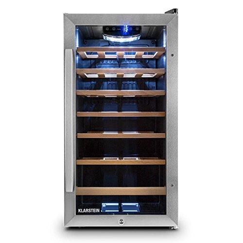 Klarstein Vivo Vino - freistehender Weinkühlschrank mit Edelstahl-Glastür, kompakter Weinkühler, Temperatur: 5 bis 18°C, Beleuchtung, 88 Liter Fassungsvermögen, 26 Flaschen, schwarz-silber