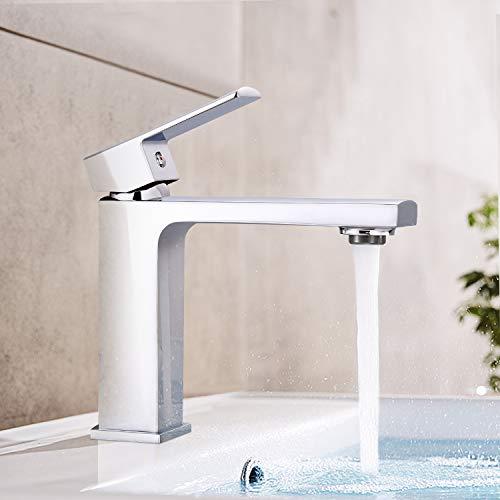 Waschtischarmatur, Dalmo DBWF02JD Wasserhahn Bad, Badarmatur mit hochwertigem ABS Perlator und Keramikventilen, verchromtes Messing, heißes und kaltes Wasser vorhanden, Waschbecken Wasserhahn