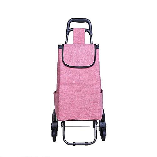 WYZXR KDMB Einkaufswagen auf Rädern faltbar, wetterfest stark und stabil 6 Räder langlebiger Treppensteigwagen große Kapazität Multifunktions-Einkaufswagen Büro Camping Markt Pink