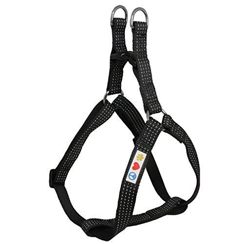 PAWTITAS verstellbares, Reflektierendes Step-in-Softgeschirr für Welpen   Hundegeschirr einstellbar ideal für sportliche Aktivitäten   Extra Klein - Schwarz Hundegeschirr