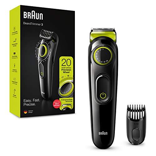 Braun Bartschneider BT3221 und Haarschneidemaschine für Herren, lebenslange scharfe Klingen, 20 Längeneinstellungen, Schwarz/Volt Grün, UK-Stecker