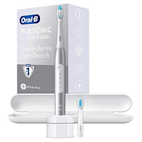 Oral-B Pulsonic Slim Luxe 4500 Elektrische Schallzahnbürste für gesünderes Zahnfleisch in 4 Wochen, mit Sensitiv-Programm, Premium Reise-Etui, platin