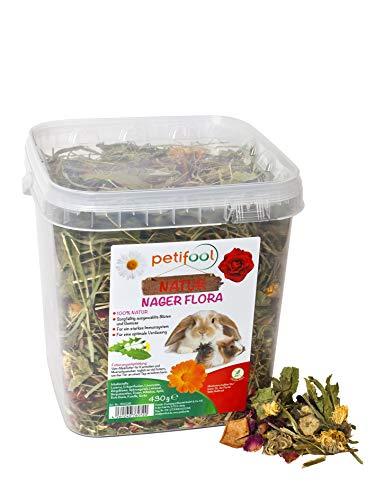 petifool Nager-Alleinfutter 'Nager Flora', natürliches und gesundes Kaninchenfutter, 1er Pack (1 x 430 g), Grün