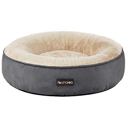 FEANDREA Hundebett, Katzenbett, Donut, Ø 50 cm, dunkelgrau PGW050G02