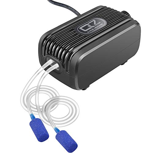 IREENUO Aquarium Luftpumpe, Aquarienluftpumpe 150L/H pro Luftstein Einstellbarer Luftstrom, Weniger als 40dB Aquarium Sauerstoffpumpe (3W - 2 Luftauslässe)
