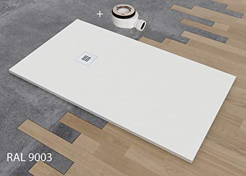 DUSCHWANNE MINERALGUSS SCHIEFER TEXTUR MIT GELCOAT 90x140 cm weiß RAL 9003