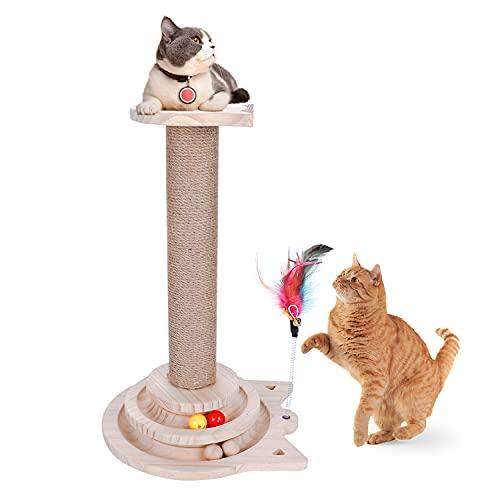 Katzensäule mit Plüschtieren aus natürlichem Sisalschutzmaterial, Höhe 44 cm, einfach zu montieren, Katzenmöbel-Aktivitätszentrum