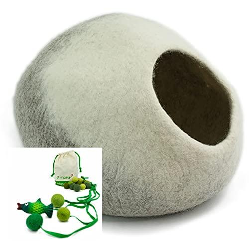 8-Natur® Tüv getestete Katzenhöhle Filz 100% Wolle fair, ökologisch und schadstoffgeprüft | Katzenhaus mit isolierendem Innenkissen, waschbar | Katzenbett flauschig oder Hundehöhle kleine Hunde