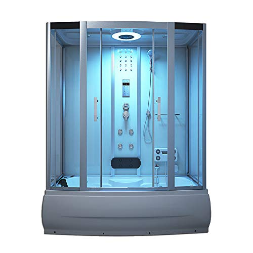 Home Deluxe - Duschtempel - Diamond weiß - Maße: 170 x 90 x 220 cm - inkl. Whirlpool und Dampfsauna