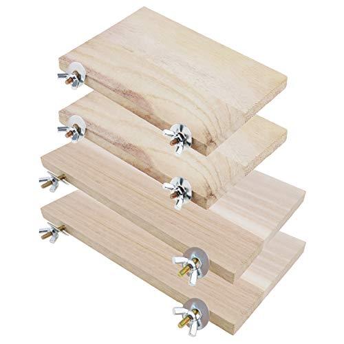YINETTECH Plattform für Haustiere, Hamster, Chinchilla, Holz, rechteckig, mit Schraube, Mutter, Unterlegscheibe, Spielzeug für Kleintiere, 4 Stück