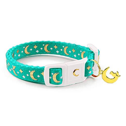 waaag Katzenhalsband Gold Monde und Sterne Sicherheitshalsband Katzenhalsband Sicherheitsreißverschluss leuchtet im Dunkeln, Kitten 6.5'-10' Neck, Aqua