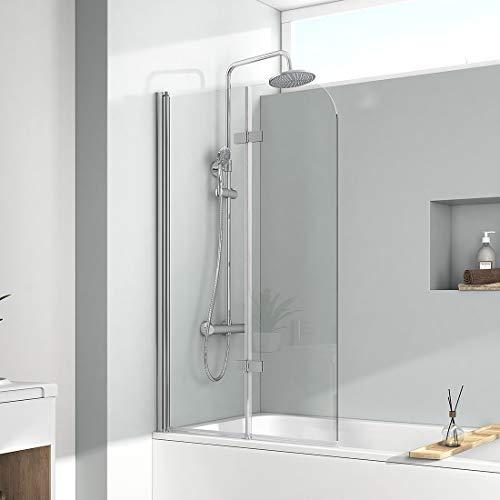 EMKE 100x140cm Duschtrennwand für Badewanne Faltwand Duschabtrennung Badewannenaufsatz NANO einfach-Reinigung Beschichtung