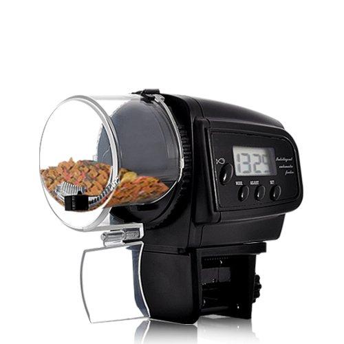 BW Aquarium-Futterautomat, automatischer Fischfutter-Spender mit LCD-Display für Aquarien (Anti-Futterstau-Design)