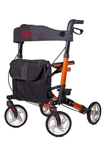 Premium Alu-Rollator Set, Leichtgewicht-Reiserollator mit Vollausstattung für die Reise, 3-fach faltbar für Kofferraum, orange-kupfer