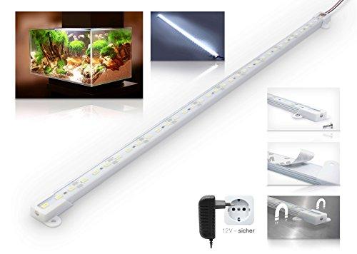 LED Aquariumleuchte - Spritzwassergeschützt - 50cm Länge mit Netzteil - Kaltweiß 6000K 1200Lm 9W