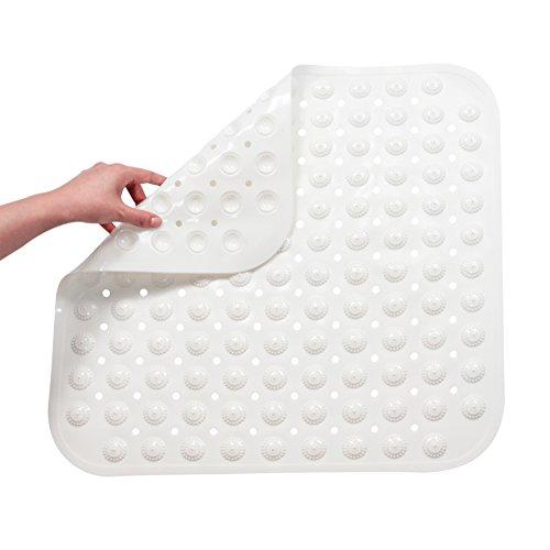 FHzytg Duschmatte Rutschfest Quadratisch, TPR Duschmatten Dusche Rutschfest, Antibakteriell Antirutschmatte Dusche, Duschwanneneinlage Rutschfest mit Massage Ball für Badewanne (Weiß, 48 x 48 cm)