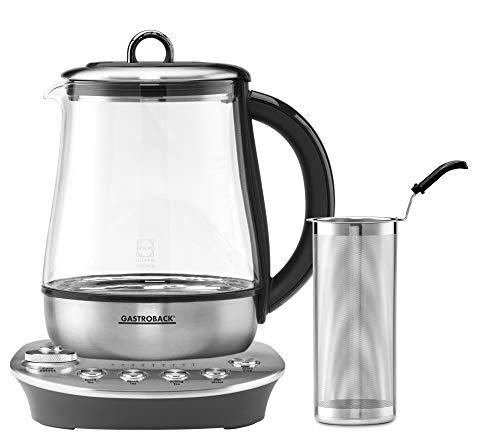 GASTROBACK 42434 Design Tea Aroma Plus Teekocher Wasserkocher, Optimale Brühtemperatur und Brühzeit für jede Teesorte, 8 Teeprogramme (60-100°C), 1,5 Liter Glasbehälter (SCHOTT DURAN)