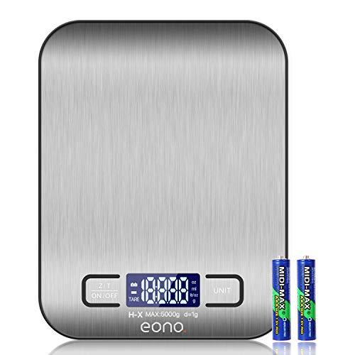 Eono by Amazon - Digitale Küchenwaage, Premium Edelstahl-Lebensmittelwaage, wiegt Gramm und Unzen zum Backen und Kochen 5kg/1g - 15Jahre Garantie