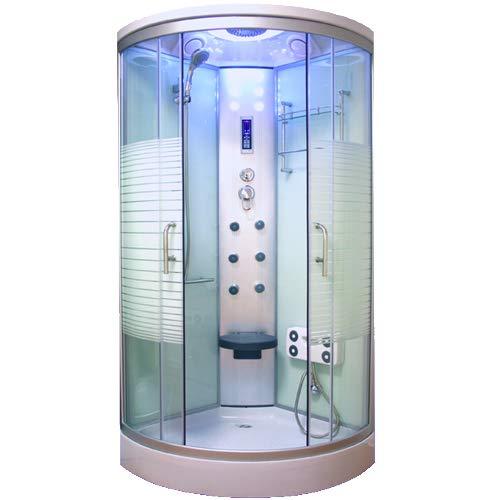 OimexGmbH Arielle Weiss LED Duschkabine 90 x 90 cm Komplettdusche mit Massagefunktion Armaturen Sicherheitsglas (ESG) Dusche
