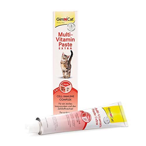 GimCat Multi-Vitamin Paste Extra - Katzensnack mit Beta-Glucan und Omega 3&6 für gesunden Zellschutz - 1 Tube (1 x 200 g)