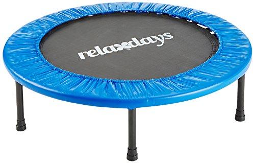 Relaxdays Fitness Trampolin, 91 cm Durchmesser, Indoortrampolin, belastbar bis 100 kg, Fitness und Ausdauertraining, blau