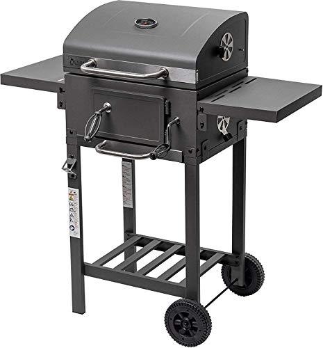 ACTIVA Grill Grillwagen Angular, Schwarz, Holzkohlegrill BBQ Barbecue, Holzkohle-Grill mit Deckel