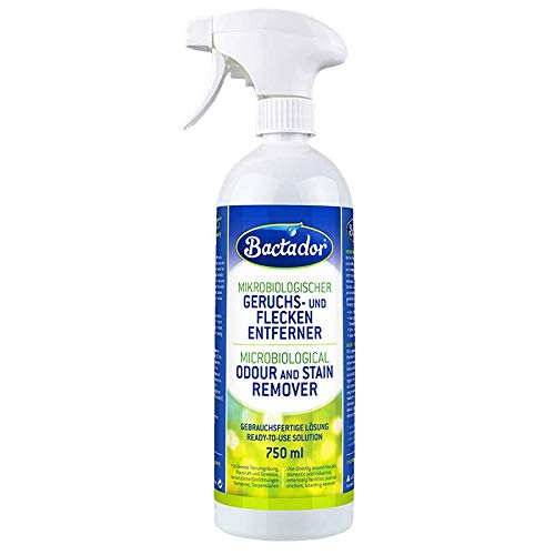 Bactador Geruchsentferner und Fleckenentferner Spray 750ml - Mikrobiologischer Geruchsneutralisierer und Enzymreiniger - 100% natürlich - Porentiefe Reinigung in Haushalt und Tierhaltung