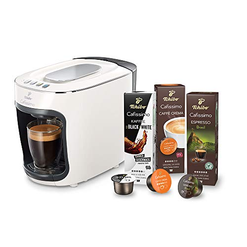 Tchibo Cafissimo mini Kapselmaschine (für Kaffee, Espresso und Caffè Crema) inkl. 30 Kapseln, Weiß