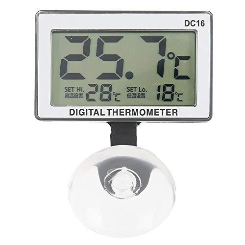 Cikonielf Aquarium Thermometer Wasserdicht Saugnapf Thermometer Digitales Aquarien Thermometer LCD Thermometer mit Saugnapf für Aquarium Terrarium Vivarium Fish Tank