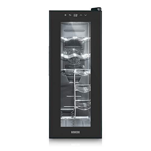 N8WERK Weinkühlschrank für 12 Flaschen mit doppelwandiger Temperglastür | Freistehend in der Midnight Edition, Temperaturbereich 10°C - 18°C, Touch-Bedienfeld mit LED-Display