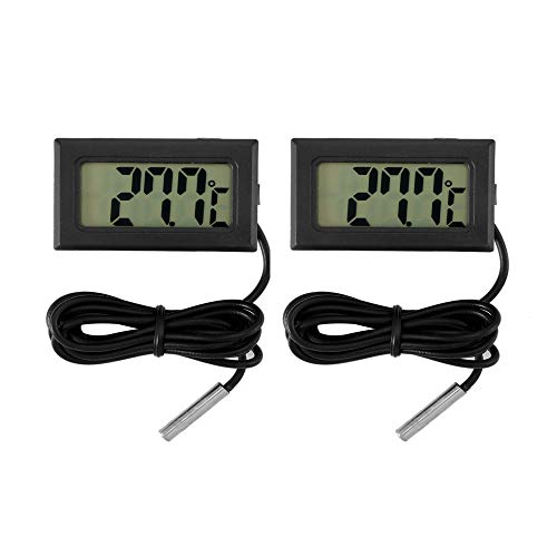 AOZBZ Digitales LCD-Thermometer Temperaturanzeige Aquarium-Thermometer Digitales Auto-Thermometer mit Sonde für Gewächshaus, Garten, Fahrzeug Reptilien Terrarium Aquarium Kühlschrank (Celsius)