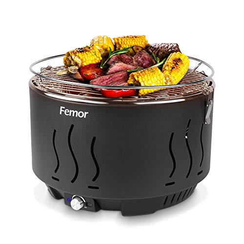 femor Rauchfreier Holzkohlegrill, Tischgrill mit Tragetasche, Grill mit USB-oder Batteriebetriebenem Lüfter, 3 Minuten Vorglühzeit, 35x35x25cm, für Balkon Camping Picknick, Tolle Temperaturregelung