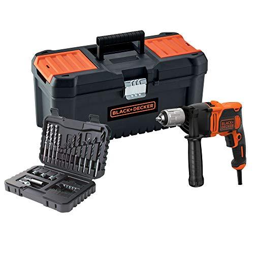 BLACK+DECKER BEH850KA32-QS Schlagbohrmaschine mit Kabel, 850 W, mit 32-teiligem Set und Werkzeugkoffer 16 Zoll