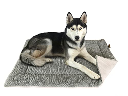 FLUFFINO® Hundedecke- Flauschig, Weich u. Waschbar (Größe L, 104 x 68 cm, grau)- Wildlederimitat für erhöhte Rutschfestigkeit - Für große u. kleine Hunde o. Katzen- Hundematten/Hundekissen