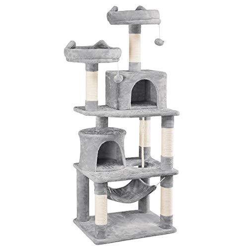 Yaheetech Kratzbaum XXL Kletterbaum für Katzen mit 2 Katzenhäusern 2 Plattformen Katzenmöbel mit Hängematte Hellgrau