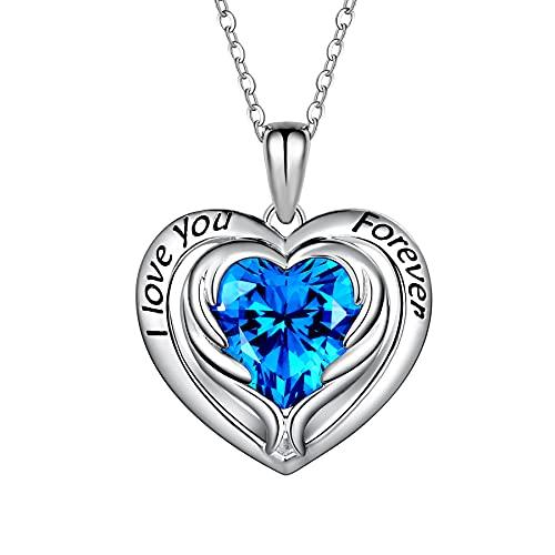 T400 Halskette Damen Kette Silber 925 Love Heart Anhänger Herz Schmuck mit 5A Kubik Zirkonia Geschenke für Freundin 45+5 cm