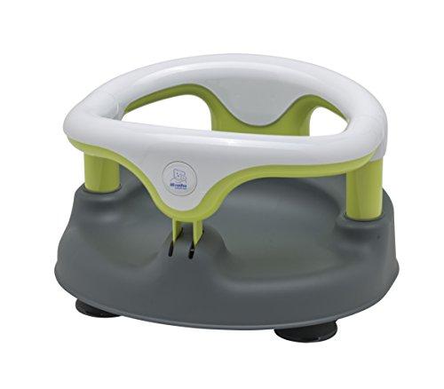 Rotho Babydesign Badesitz, Mit aufklappbarem Ring inkl. Kindersicherung, 7-16 Monate, Bis max. 13kg, BPA-frei, 35x31,3x22cm, Grau/Weiß/Apple Green