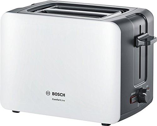 Bosch TAT6A111 Kompakt-Toaster ComfortLine, automatische Brotzentrierung, Auftaufunktion, 1090 W, weiß/dunkelgrau