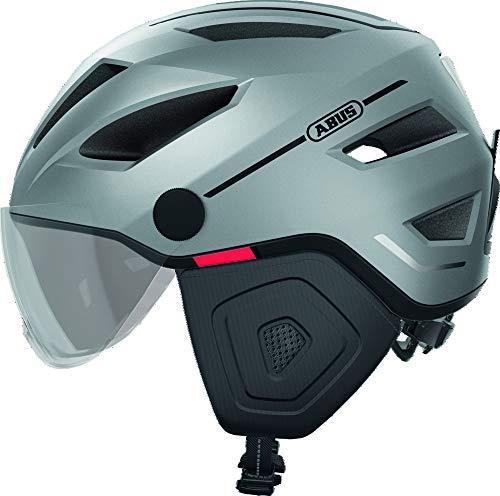 ABUS Pedelec 2.0 ACE Stadthelm - Hochwertiger E-Bike Helm mit Rücklicht und Visier für den Stadtverkehr - für Damen und Herren - 81930 - Silber, Größe L