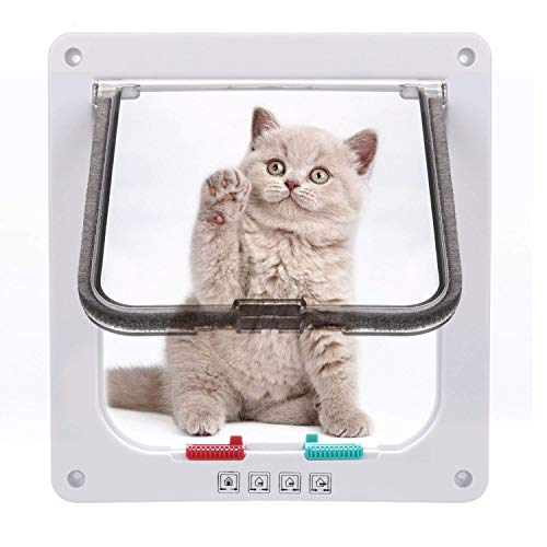Sailnovo Katzenklappe 4-Way Magnetic Lock hundeklappe Haustiertüre Cat Flap 19 * 20 * 5.5cm Dog Cat Pet Door Flap Easy Install with Telescopic Frame with Heavy Duty Quiet Magnetic Frame, M weiß
