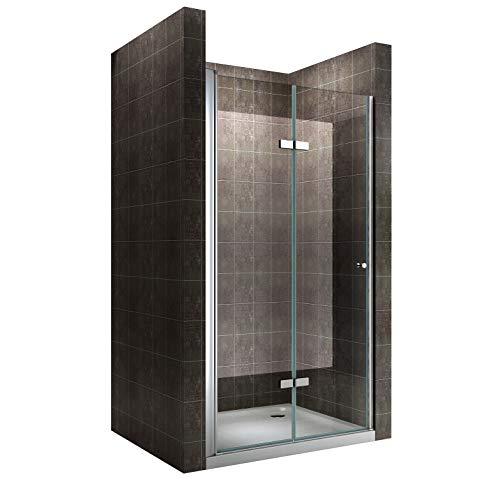 Einzelfalttür Falttür Duschtür Duschabtrennung Klarglas 6mm ESG Sicherheitsglas - alle Größen (88-92cm)