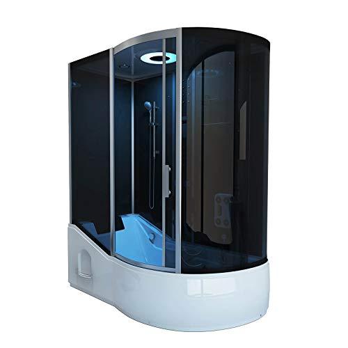 Home Deluxe - Duschtempel mit Regendusche und Handbrause - All IN 2in1 schwarz rechts - Maße: 170 x 90 x 220 cm   Komplettdusche mit Wanne, Fertigdusche, Dusche, Duschkabine Komplett