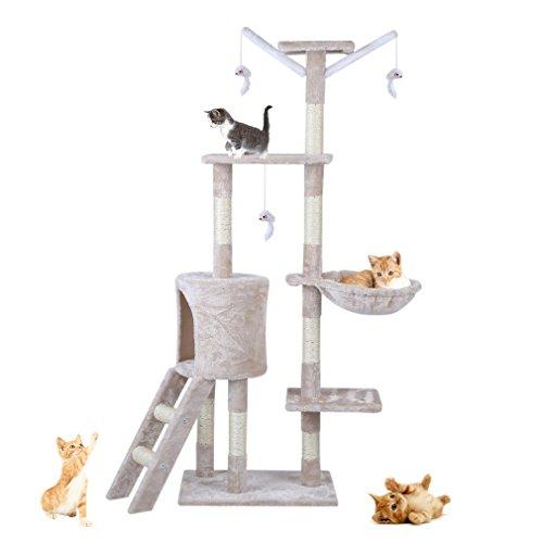 U-Kiss Katzen Kratzbaum mit Sisal - Kletterbaum mit Kuschel und Spielmöglichkeiten - Spielbaum mit Plattformen und Spielmöglichkeiten Kratzsäulen (Beige)