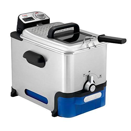 Tefal FR8040 Oleoclean Pro Inox & Design Fritteuse | 2300W | Kapazität 1,2 Kg | Herausnehmbarer Ölbehälter | Automatische Öl/Fett Filterung | Timer | Thermostat | Knusprige Pommes | Edelstahl/Schwarz
