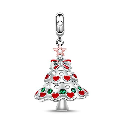 Gnoce Weihnachtsbaum Beads Charm 925 Sterlingsilber mit Rot und Grün Zirkonia Stein Weihnachten Charms anhänger Weihnachtsgeschenk Für Frauen Kinder Mädchen