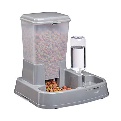Relaxdays 2in1 Futter- & Wasserspender, Duo Futterautomat für Hunde & Katzen, Flasche, 5 Liter, Kunststoff, dunkelgrau