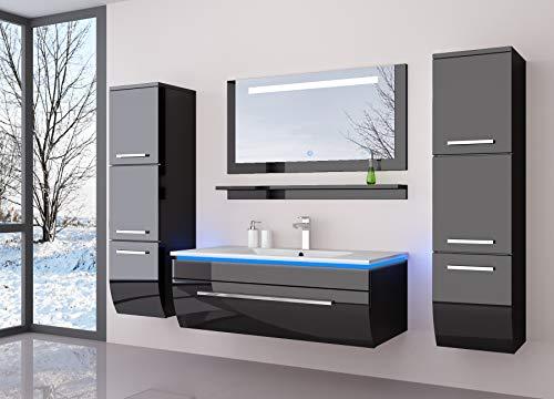HOMELINE Badmöbelset 60 cm Schwarz vormontiert Badezimmermöbel Waschbeckenschrank mit waschtisch Spiegel Zwei Hochschränken mit LED Hochglanz Badmöbe Set