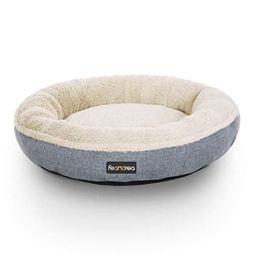 FEANDREA Hundebett, Hundekorb, Katzenbett, Donut, rund, Ø 55 cm, grau PGW55G