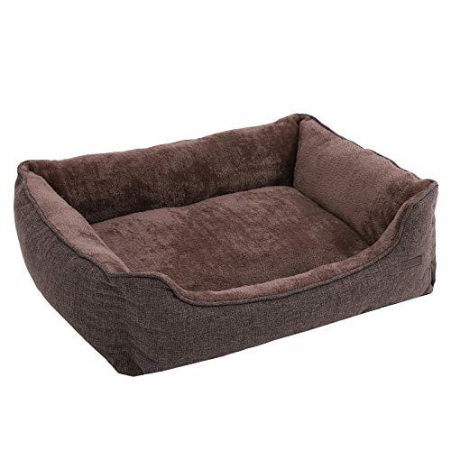 FEANDREA Waschbares Hundebett, Bezug abnehmbar und maschinenwaschbar, Kuscheliges Hundekissen, Braun 90 x 25 x 75 cm PGW11CC